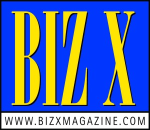Biz X logo with white bar